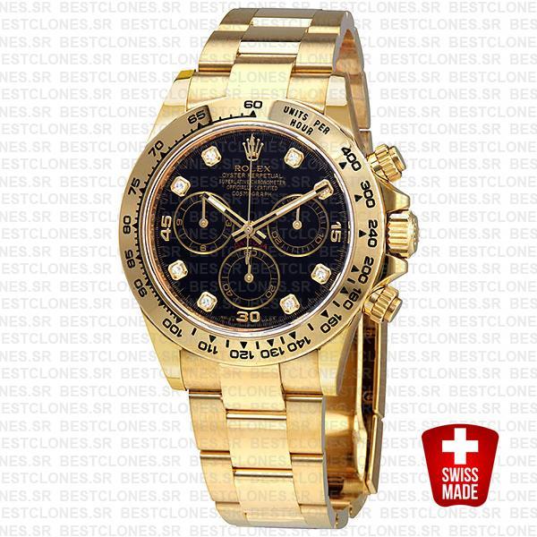 Rolex Cosmograph Daytona 18k Yellow Gold Wrap 904l Steel Diamond Black Dial 40mm Ref:116508 Swiss Replica Watch