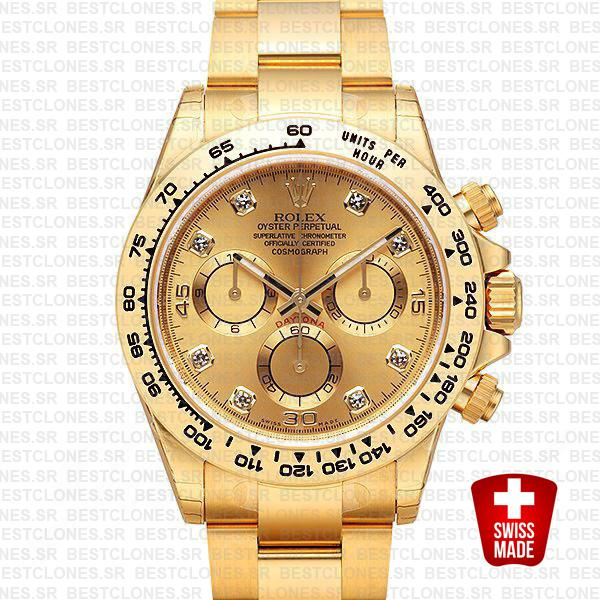 Rolex Cosmograph Daytona 18k Yellow Gold Wrap 904l Steel Diamond Gold Dial 40mm Ref:116508 Swiss Replica Watch