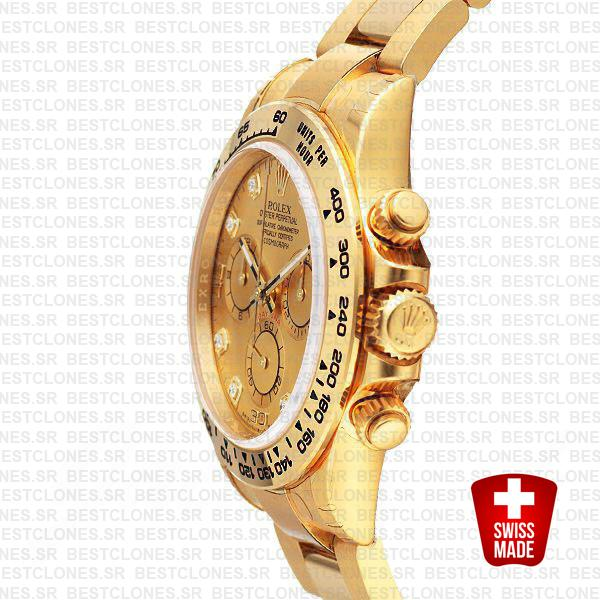 Rolex Cosmograph Daytona 18k Yellow Gold Wrap 904l Steel Diamond Gold Dial 40mm Ref:116508 Swiss Replica Watch