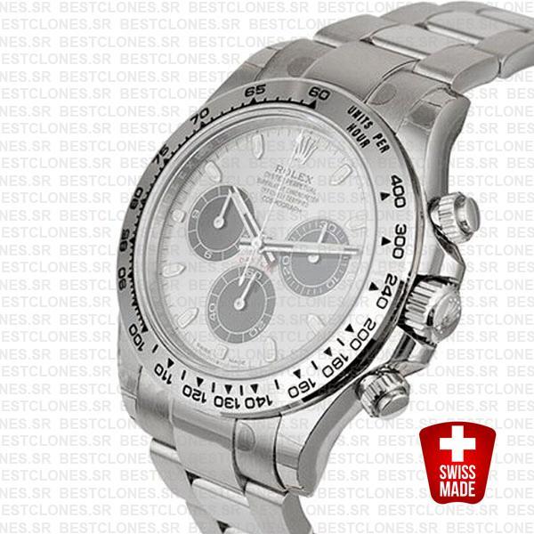 Rolex Daytona 18k White Gold Steel Dial 40mm 116509