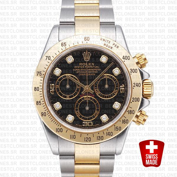 Rolex Daytona 2 Tone Black Diamonds Swiss Replica 40mm 116523