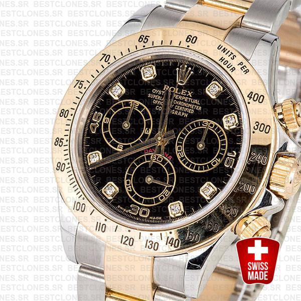 Rolex Daytona 2 Tone Black Diamonds Swiss Replica 40mm 116523