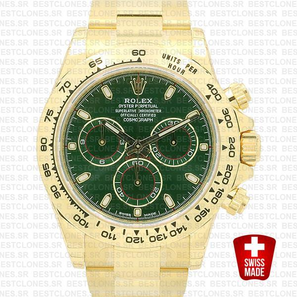 Rolex Daytona 2016 Yellow Gold Green 116508 40mm Swiss Replica