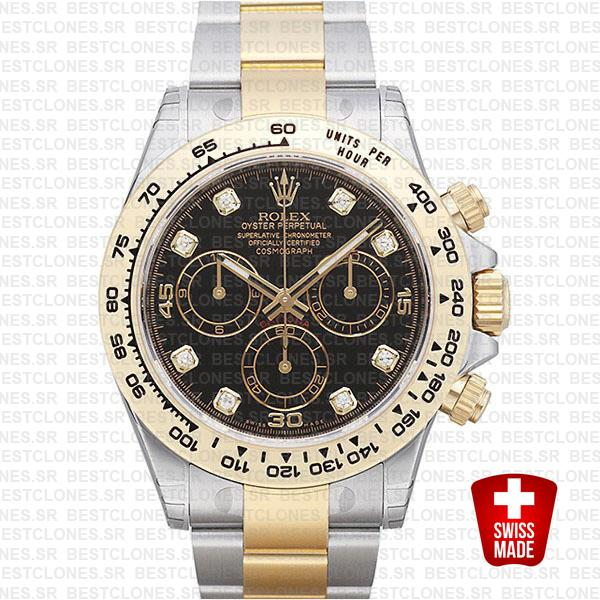 Rolex Cosmograph Daytona 2tone 18k Yellow Gold/904l Steel Black Diamond Dial 40mm Ref:116503 Swiss Replica Watch