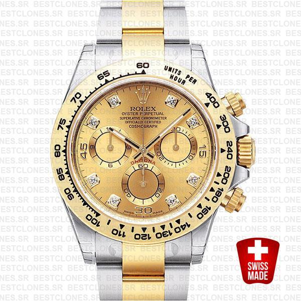 Rolex Cosmograph Daytona 2tone 18k Yellow Gold/904l Steel Diamond Gold Dial 40mm Ref:116503 Swiss Replica Watch