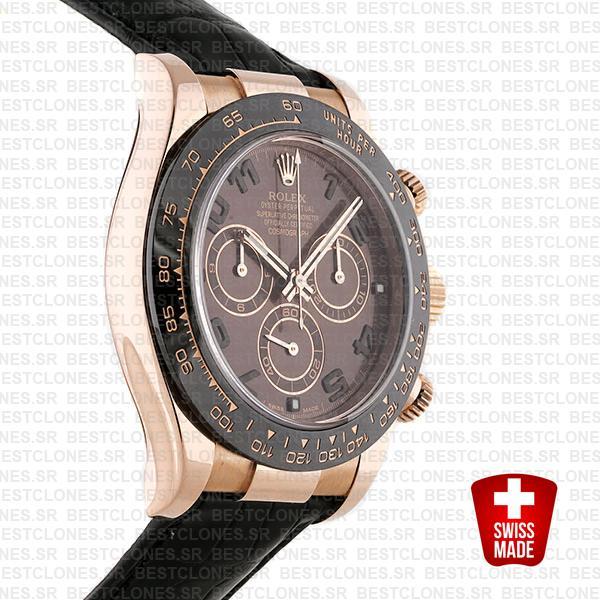 Rolex Daytona Leather Rose Gold Chocolate Arabic Ceramic 40mm 116515