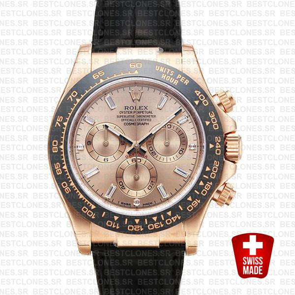 Rolex Daytona Leather Rose Gold Pink Diamond Ceramic 40mm 116515 Swiss Replica