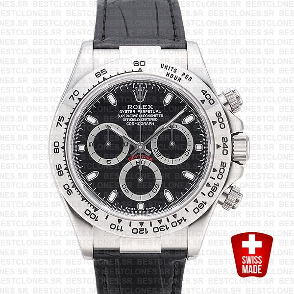 Rolex Daytona Leather White Gold Black Dial 116519 Swiss Replica 40mm