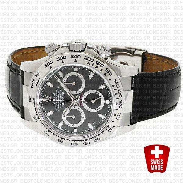 Rolex Daytona Leather White Gold Black Dial 116519 Swiss Replica 40mm