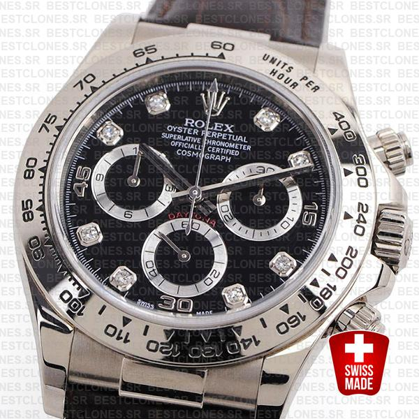 Rolex Daytona Leather White Gold Black Diamond Markers 116519 Swiss Replica 40mm