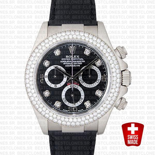 Rolex Daytona Leather White Gold Black Diamond Markers Bezel 116519 Swiss Replica 40mm 0