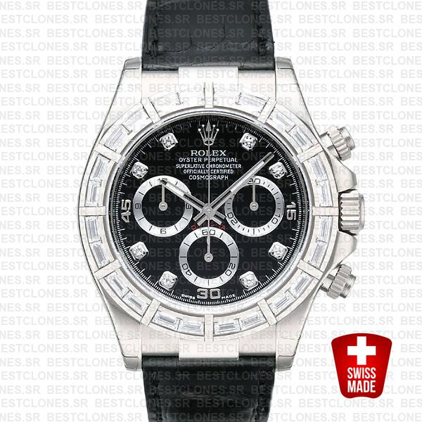 Rolex Daytona Leather White Gold Black Diamond Markers Bezel 116519 Swiss Replica 40mm