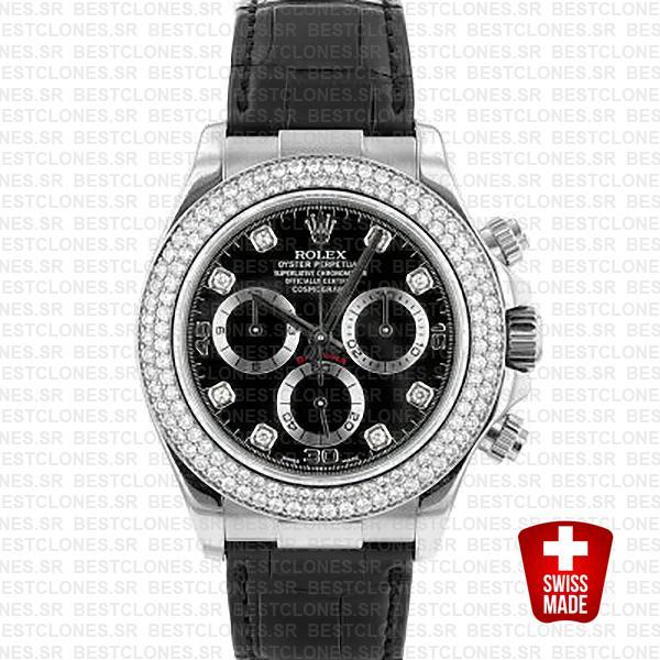 Rolex Daytona Leather White Gold Black Diamond Markers Bezel 116519 Swiss Replica 40mm 1