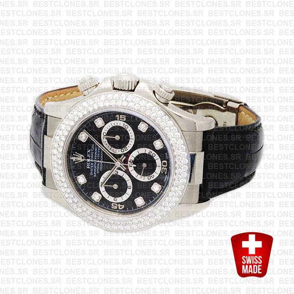 Rolex Daytona Leather White Gold Black Diamond Markers Bezel 116519 Swiss Replica 40mm 3