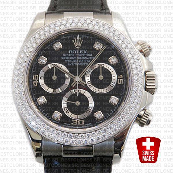 Rolex Daytona Leather White Gold Black Diamond Markers Bezel 116519 Swiss Replica 40mm 5