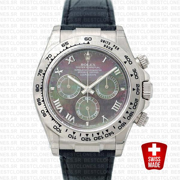 Rolex Daytona Leather White Gold Black Mop Roman 116519 Swiss Replica 40mm