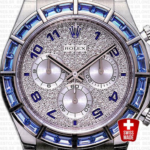 Rolex Daytona Leather White Gold Blue Diamonds 40mm 116589 Swiss Replica
