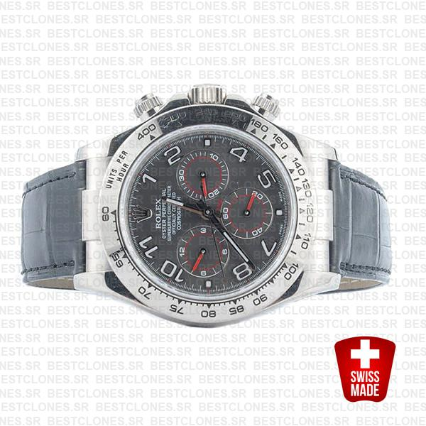 Rolex Daytona Leather White Gold Grey Dial Arabic 116519 Swiss Replica 40mm