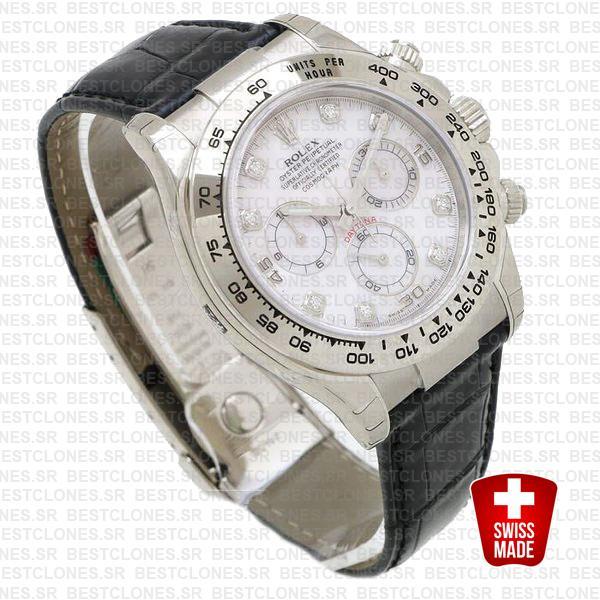 Rolex Daytona Leather White Gold Mop White Diamond Markers 116519 Swiss Replica 40mm