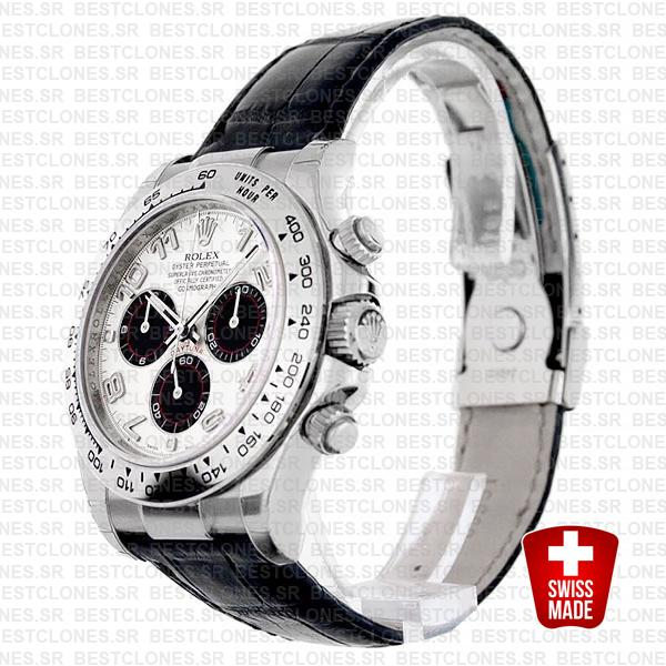Rolex Daytona Leather White Gold Panda White Arabic 116519 Swiss Replica 40mm