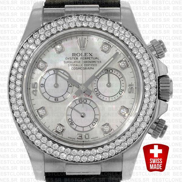 Rolex Daytona Leather White Gold White Mop Diamond Markers Bezel 116519 Swiss Replica 40mm