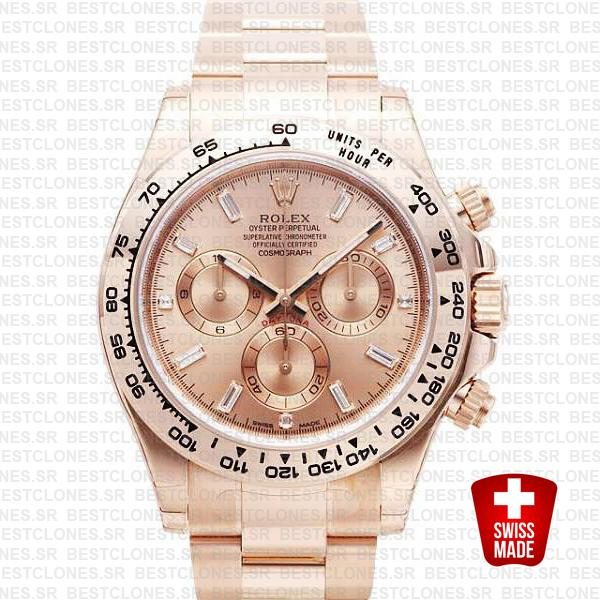 Rolex Daytona Pink Gold Dial 18k Diamonds Gold 116505 40mm