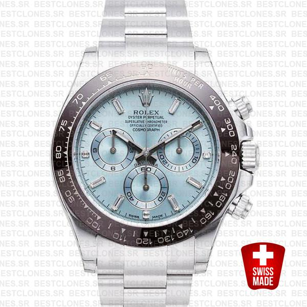 Rolex Daytona Platinum Ice Blue Diamond Markers Ceramic 116506 Swiss Replica