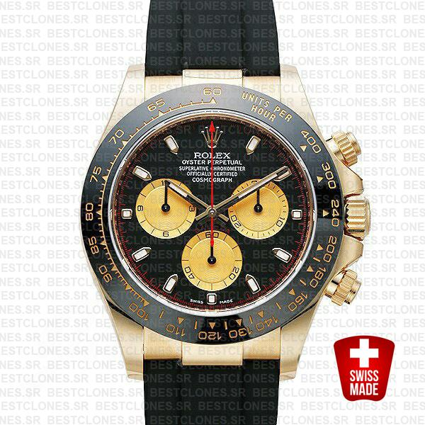 Rolex Daytona Rubber 18k Yellow Gold Ceramic Bezel Panda Black Dial 40mm 116518