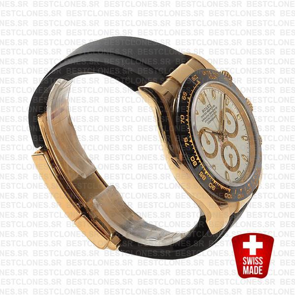 Rolex Daytona Rubber 18k Yellow Gold Ceramic Bezel White Dial 40mm 116518