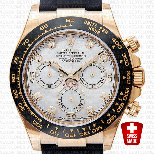 Rolex Daytona Rubber 18k Yellow Gold Ceramic Bezel White Mop Diamond Dial 40mm 116518
