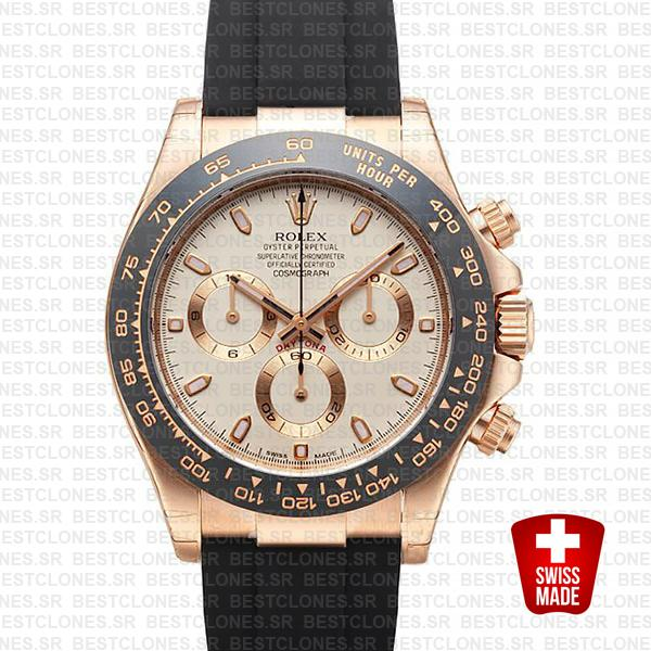 Rolex Daytona Rubber Rose Gold Ivory Ceramic 40mm