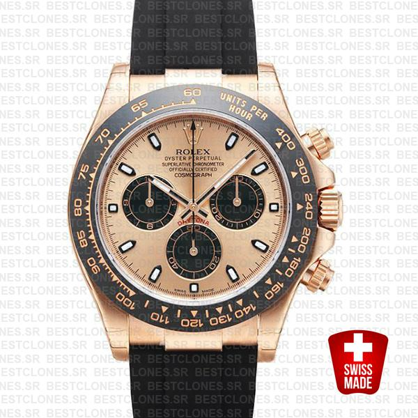 Rolex Daytona Rubber Rose Gold Pink Black Ceramic 40mm 116515 Swiss Replica