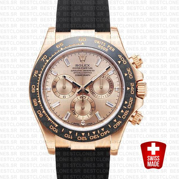 Rolex Daytona Rubber Rose Gold Pink Diamond Ceramic 40mm 116515 Swiss Replica