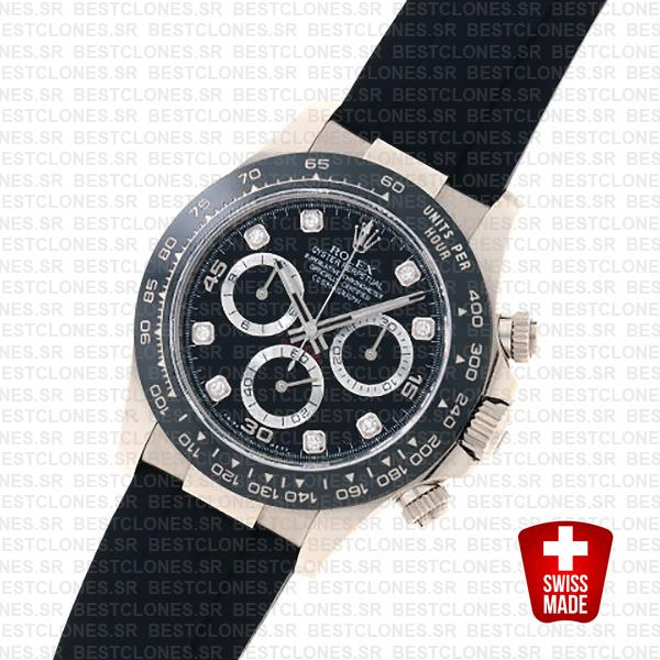Rolex Daytona Rubber White Gold Black Diamond Dial Ceramic Bezel 40mm 116519ln