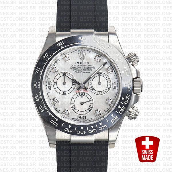 Rolex Daytona Rubber White Gold White Mop Diamond Dial Ceramic Bezel 40mm 116519ln