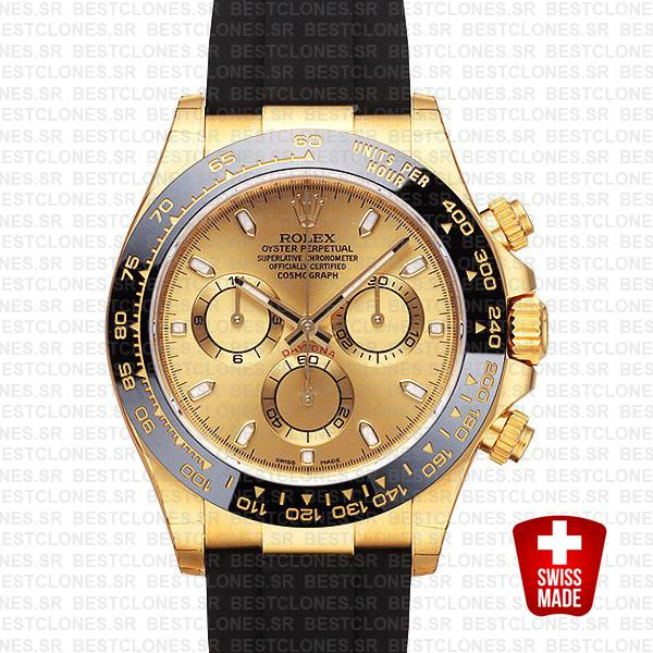 Rolex Daytona Rubber Yellow Gold Ceramic Bezel Gold Dial 116518ln Swiss Replica