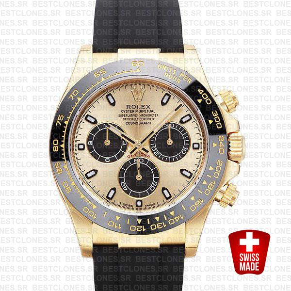Rolex Daytona Rubber Yellow Gold Gold Dial Ceramic Bezel 40mm 116518ln