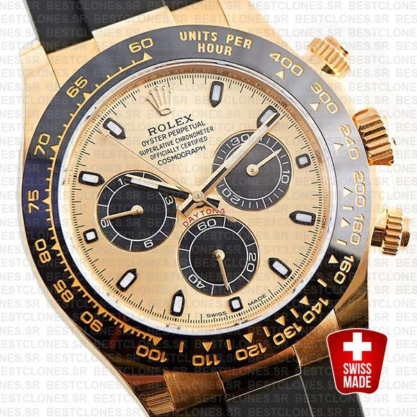 Rolex Daytona Rubber Yellow Gold Gold Dial Ceramic Bezel 40mm 116518ln