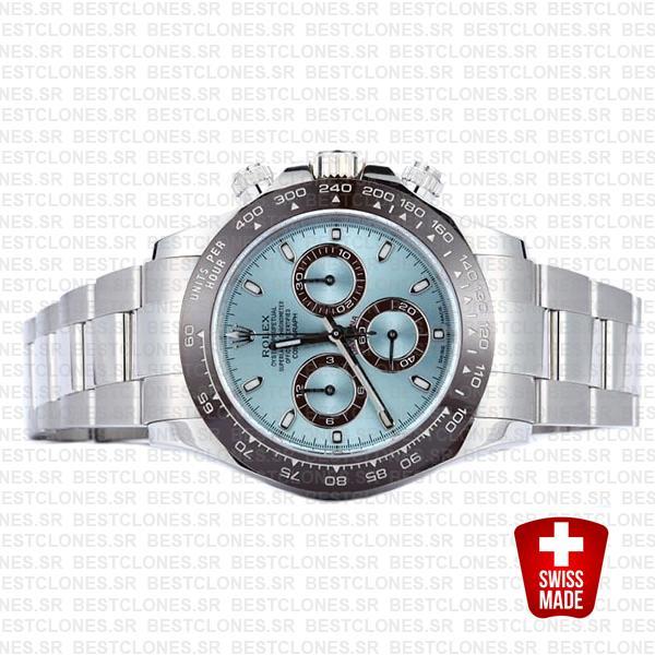 Rolex Daytona Ss Platinum Ice Blue Ceramic 116506 40mm Swiss Replica