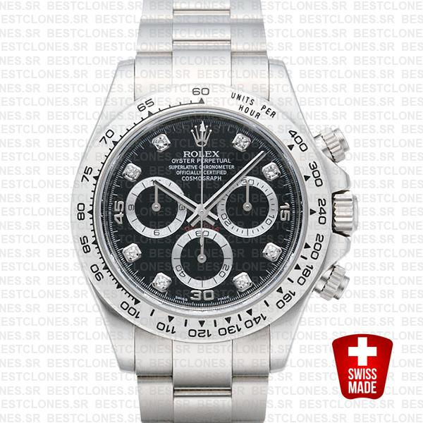 Rolex Daytona Ss White Gold Black Diamond 40mm 116509 Swiss Replica