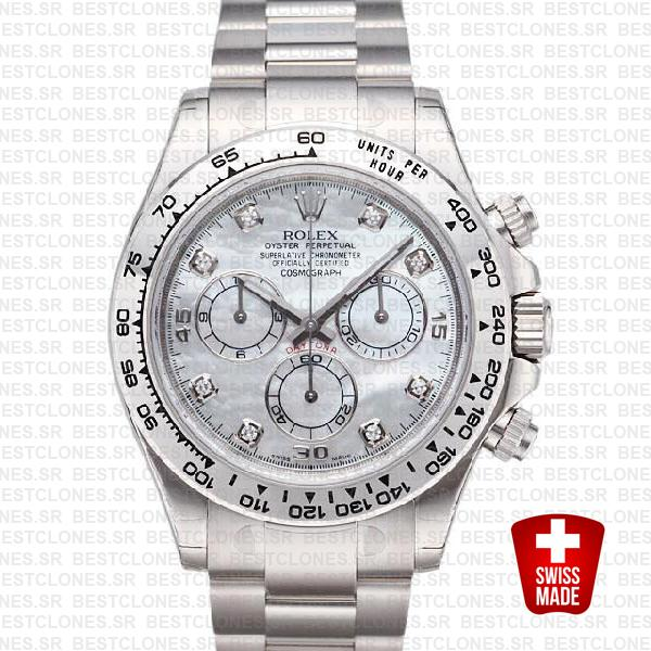 Rolex Daytona Ss White Gold Mop White Diamond 40mm 116509 Swiss Replica