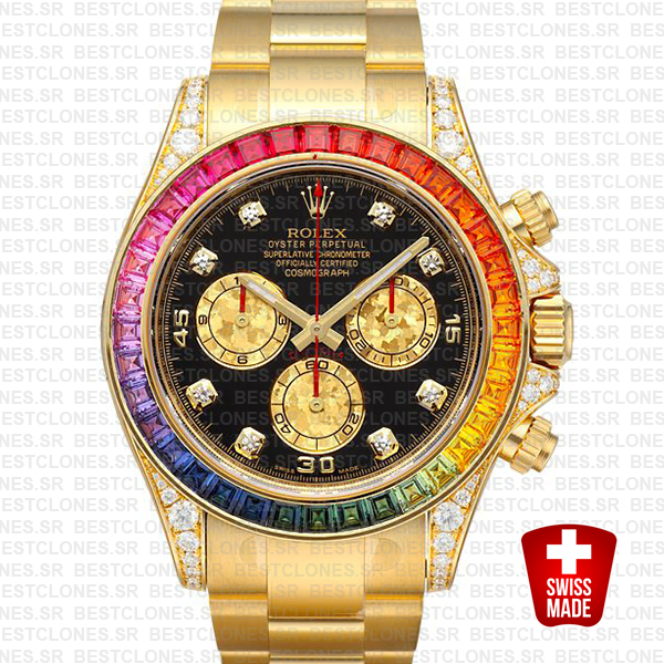 Rolex Daytona Yellow Gold Rainbow 40mm 116598 Replica