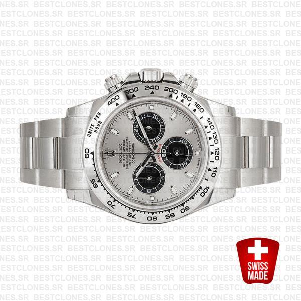 Solid Rolex Daytona 18k White Gold Steel Dial 40mm 116509
