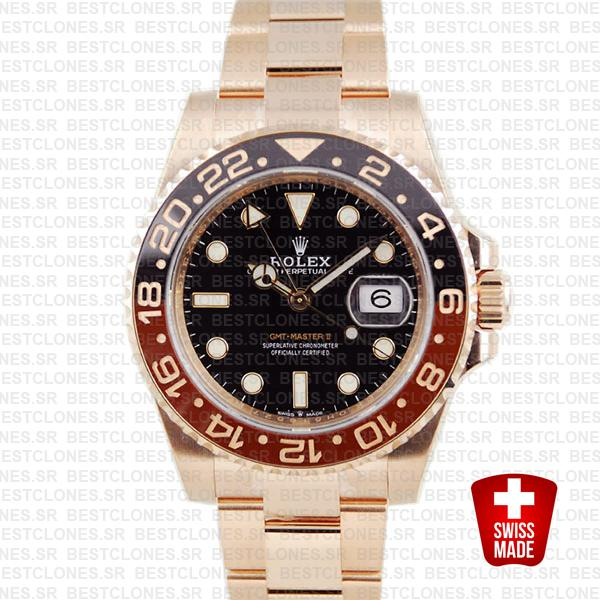 Rolex Gmt Master Ii 18k Rose Gold Ceramic Bezel Black Dial 126715chnr 40mm