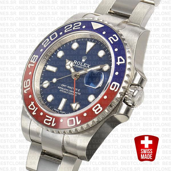 Rolex Gmt Master Ii 18k White Gold Pepsi Bezel Blue Dial126719blro 40mm Oyster Band