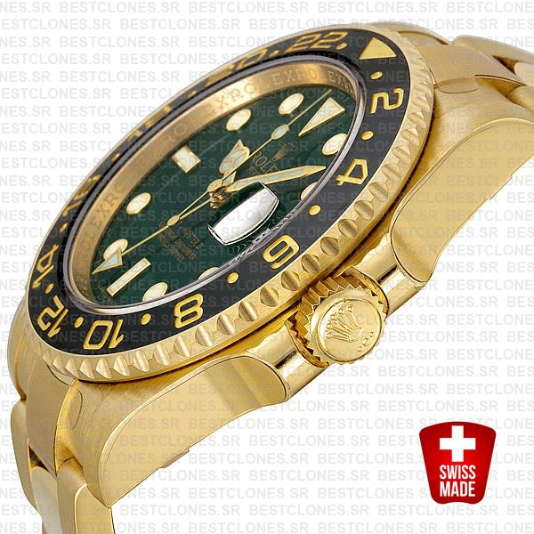Rolex Gmt Master Ii Gold Green Ceramic 40mm Oversized 116718 Swiss Replica 2
