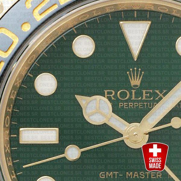 Rolex Gmt Master Ii Gold Green Ceramic 40mm Oversized 116718 Swiss Replica