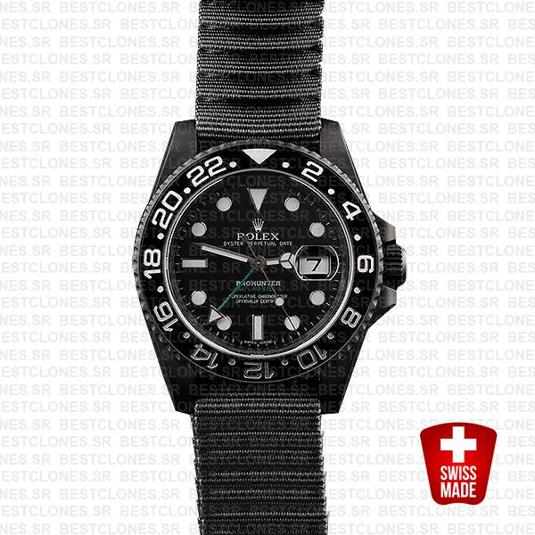 Rolex Gmt Master Ii Pro Hunter Dlc Black Ceramic Nato Strap 40mm Oversized 116710 Swiss Eplica