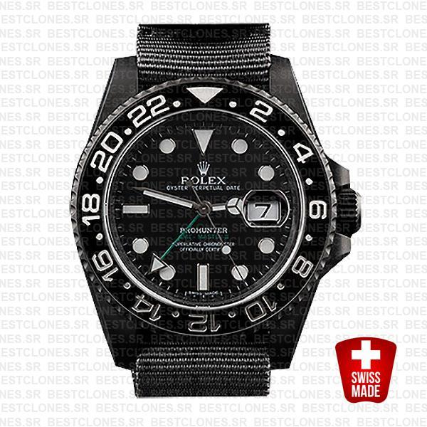Rolex Gmt Master Ii Pro Hunter Dlc Black Ceramic Nato Strap 40mm Oversized 116710 Swiss Replica