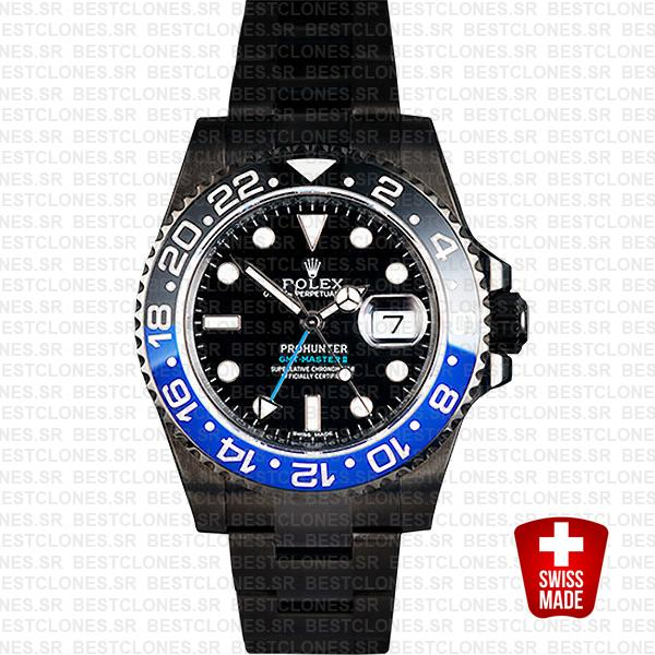 Rolex Gmt Master Ii Pro Hunter Dlc Blue Black Ceramic 40mm Oversized 116710 Replica